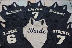 7 Bridesmaid Tank Tops. 7 Wedding Shirts. 7 Flowy Bridesmaid Shirts. Set of 7 Bridal Party Tanks. 7 Bachelorette Tees. 7 Bridal…
