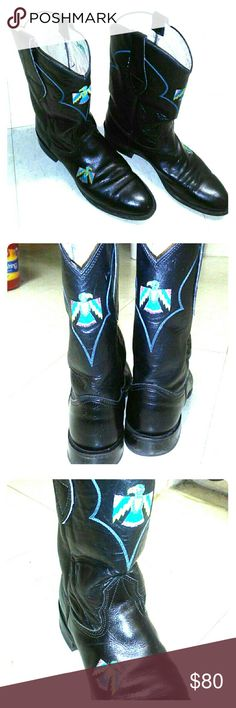Nocona women's Cowboy black boots 7B Eagle Nocona women's Cowboy black boots 7B with eagle bird embroidered on front back and foot Little heel wear (see pic) Front scratches from normal wear & sole wear(see pics) polishing should remedy  Good condition Nocona Boots Shoes Heeled Boots