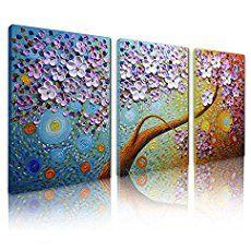 Asdam Art-?100% pintado a mano 3D?3 paneles flor pared arte Art pinturas al óleo sobre lienzo estirado y enmarcado de obras de arte listo para colgar para sala, comedor, dormitorio Inicio(16x24x3inch)