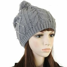 Pure Color Accessories Pearl Thickening Warm Hat