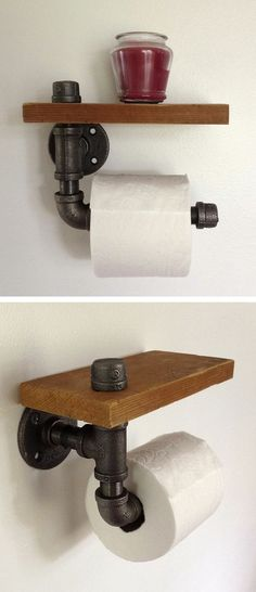 Reclaimed Wood & Pipe Toilet Paper Holder ♥ NOTE: clean the pipe then paint the pipe, it has chemical residue on it
