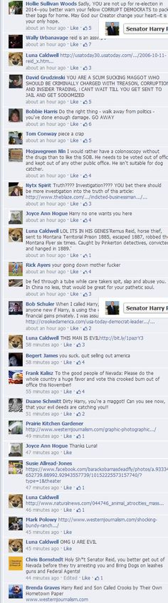 Comment from Harry Reid's FB page LOL