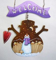 Rustic Snowman Shape Tole Painted Welcome by barbsheartstrokes,