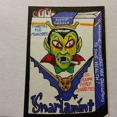 ORIGINAL ART SKETCH CARD WACKY PACKAGES SNARLAMINT CIGARETTE FAN ART SCHERES #PopArt