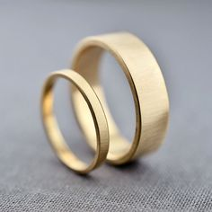Recycled 14K Gold Wedding Rings - 2mm and 6mm 14K Gold Wedding Bands Flat Bands Wedding Ring Set on Etsy, $1,074.00