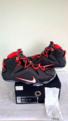 [684593 016] NIKE LEBRON JAMES VISION 12 BLK XII NEW BASKETBALL SHOES SZ 9.5 RED #Nike #BasketballShoes