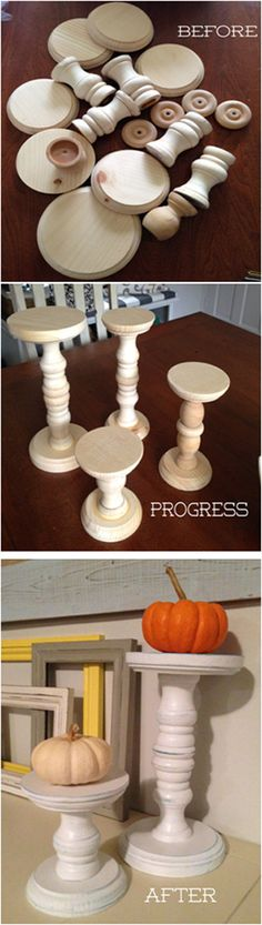 Pinner says......My DIY Candle sticks - local craft store wood bases and shapes, glued, then painted and distressed.... 4 candlesticks under $16!!!