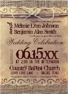 Rustic Country Vintage Burlap Print Wedding Invitations 40% OFF when you order 100+ Invites.  #wedding #rusticwedding #countrywedding #vintagewedding