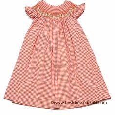 Luli & Me Baby / Toddler Girls Orange Check Seersucker Smocked Bishop Dress