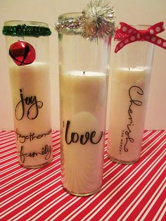I love these Christmas Candles! They are very easy to make.Click on the picture for the instructions.