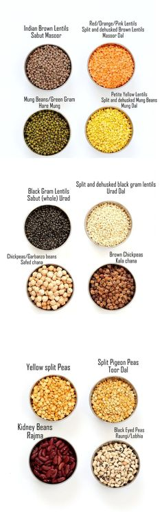 Indian Dals Names, Dals and Legumes - Indian Dal Names in English and Hindi with pictures. Split Chickpeas (Chana Dal), Red Lentils (Masoor Dal), Petite Yellow Lentils (Mung Dal) and more   Vegan Richa