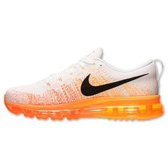 best sneakers 84569 b5cbf Nike Flyknit Air Max Running Homme (Blanc Noir Total D Orange