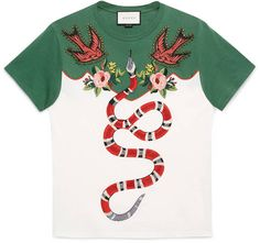 60df1266e2532 Embroidered cotton t-shirt Gucci Tee