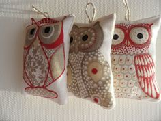 SALE Cute owl ornaments,home decor ,favor ,red,white,gray colours Christmas tree hang.Set of 3.. €7.00, via Etsy.