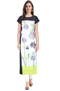 Rs. 499 Janasya Yellow Digital Printed #Crepe #Kurti