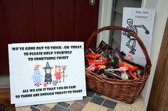 Unattended Halloween candy bowl printable sign