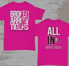 Get your BA PINK shirt and show your support during Breast Cancer Awareness Month!  Lets PINK OUT the football game THIS Friday @ BA vs Norman!  http://www.shop.inkedcustomprinting.com/Broken-Arrow-Pink-Out-Broken-Arrow-Pink-Out.htm