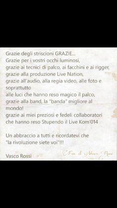Ringraziamenti Vasco per coreografia