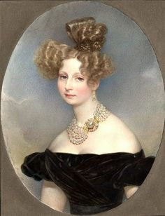 Grand Duchess Elena Pavlovna, spouse of Grand Duke Michael, by Karl Brullov, 1829. Click to see more Russian relations. Those Russian ladies LOVED their pearls!