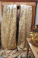 Antique Chinese Macau Embroidered Silk Curtains   Birds Flowers Butterflies