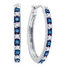 1/4CTW-Diamond HOOPS BLUE EARRING