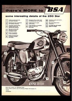 FEBRUARY 1959 BSA 250 STAR MODEL C15 MOTORCYCLE. MAGAZINE ADVERT.