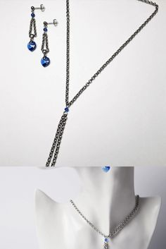 Handmade jewelry and author's models Material: Stainless Steel,Swarovski crystal blue Magnetic clasps (Bijouterie Alloy) Heart Shapes, Swarovski Crystals, Arrow Necklace, Casual Outfits, Handmade Jewelry, Jewelry Design, Stainless Steel, Clothes For Women, Blue