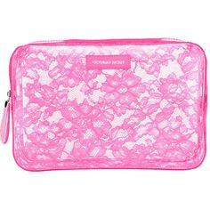 Victoria's Secret Large Jelly Lace Cosmetic Bag featuring polyvore beauty products beauty accessories bags & cases bags white victoria secret makeup bag toiletry bag makeup purse dop kit wash bag