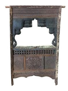 Antique-Jharokha-VINTAGE-Natural-Wood-Shabby-Chic-Hand-Carved-Floor-Mirror-Frame