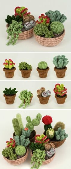 Cactos feitos de crochê