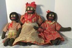 Vintage Cloth Folk Art Black Americana Rag Dolls - 1950's.