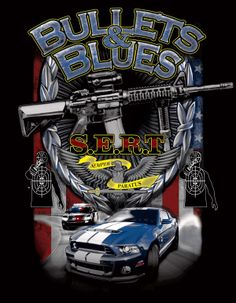 Bullets and Blues is a Pursuit and Shoot adventure training course; this is a 5 color illustration for t-shirts by Ty Meier www.screenprintprepress.com