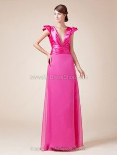 A-line V-neck Chiffon Elastic Woven Satin Floor-length Ruched Prom Dresses