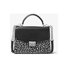 MICHAEL Michael Kors MICHAEL Michael Kors Sloan Leopard Leather... ($224) ❤ liked on Polyvore featuring bags, handbags, white, white leather purse, white leather satchel, leather satchel, leopard handbag and white handbags