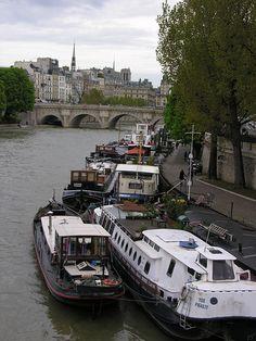 Boats along the Seine, Paris