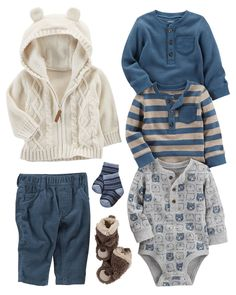 Layer up with this 3-pack of long-sleeve bodysuits under a cozy 2-piece Jacket & Jogger set. For extra warmth, add a pair of slipper crib shoes! #babyclothesboy