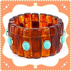 """Tortoise & Turq. Stones Bracelet This stretch bracelet is such a pretty one on the wrist. The deep caramel resin and faux turquoise stones sure make an impression and also has an updated and modern look. Goes well with any warm tones or whatever you want to wear it with. Width is 1.5"""". NWOT One of my fave styles. Excellent Condition, only wore to try on. Fits a small to large wrist. IEC Jewelry Bracelets"""