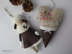 Ручная работа by natulja-best: Winter. Mini doll & heart decorated with embroidery