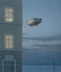 Title: Window at Night Artist: Quint Buchholz. Has a Magritte feel. Art Gallery, Surreal Art, Street Art, Art, Love Art, Illustration, Artist Inspiration, Art Design, Pictures