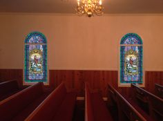Decorative Film design in two piece arch shaped window, with added deluxe medallions Stained Glass Window Film, Church Windows, Window Films, Arch, Gallery, Design, Decor, Decoration, Decorating