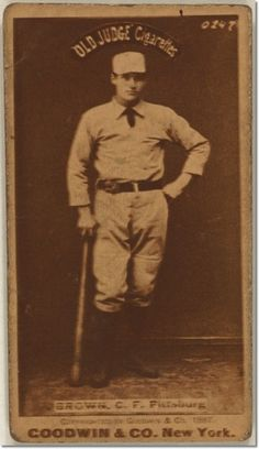Sepia-toned photograph of Tom Brown, from an Old Judge cigarette card dated Baseball Pictures, Baltimore Orioles, Boston Red, Pittsburgh, Liverpool, Toms, Baseball Cards, Portrait, Brown