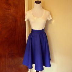 Deep Blue Homemade Circle/Swing Skirt