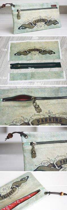 Vintage Style Zippered Pouch. Sew DIY Tutorial in Pictures. www.handmadiya.co...