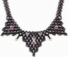 Triple 'V' by Maria Rypan. ABCs of Creativity - S is Seed Beads Pattern in Jagged Netted Collars, Lesson #2