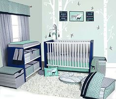 Bacati Noah Tribal 10 Piece Nursery-in-a-Bag Cotton Percale Crib Bedding Set with Bumper Pad, Mint/Navy : Baby Tribal Bedding, Baby Crib Bedding Sets, Crib Sets, Nursery Bedding, Nursery Furniture, Toddler Bed Sheet Sets, Crib Rail Cover, Baby Girl Quilts, Bebe