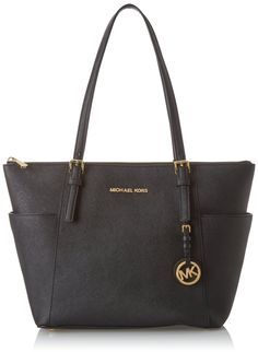 The interior is lined in Kors logo fabric and features a zippered pocket, four open slip pockets, and a key fob. It has a fully zippered top closure, and there are side gusset pockets for additional storage. The front is accented with Michael Kors lettered logo and a removable Kors circular logo hang charm. Four metal 'feet' help protect the bottom of your bag. Dual leather straps have a drop of 8.5 inches.
