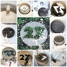 Let concrete dry around foam numbers in a tub round or other circular mold to create a personalized paver, as done here.