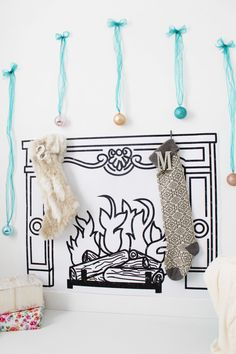 DIY printed faux fireplace with free printable fireplace sketch via ajoyfulriot.com @ajoyfulriot