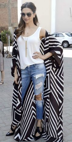16 Bold Deepika Padukone Looks That Will Inspire You to Take a Fashion Risk or Two Look Kimono, Style Kimono, Kimono Outfit, Casual Outfits, Cute Outfits, Fashion Outfits, Womens Fashion, Abaya Fashion, Kimono Fashion