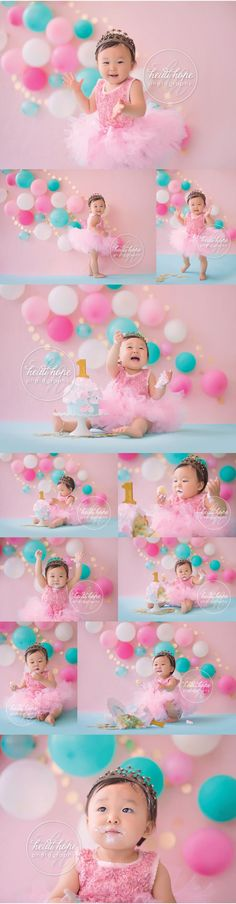 Pink and teal with a touch of sparkle for a girl's special 1-year old birthday.